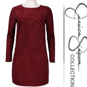 Jessica Simpson ] Suede Look Lazer Cut Dress
